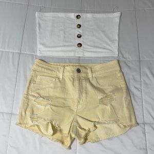 White crop top & American Eagle yellow shorts!